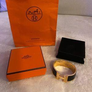 Hermes Clic Clac H wide bracelet Rose / Noir